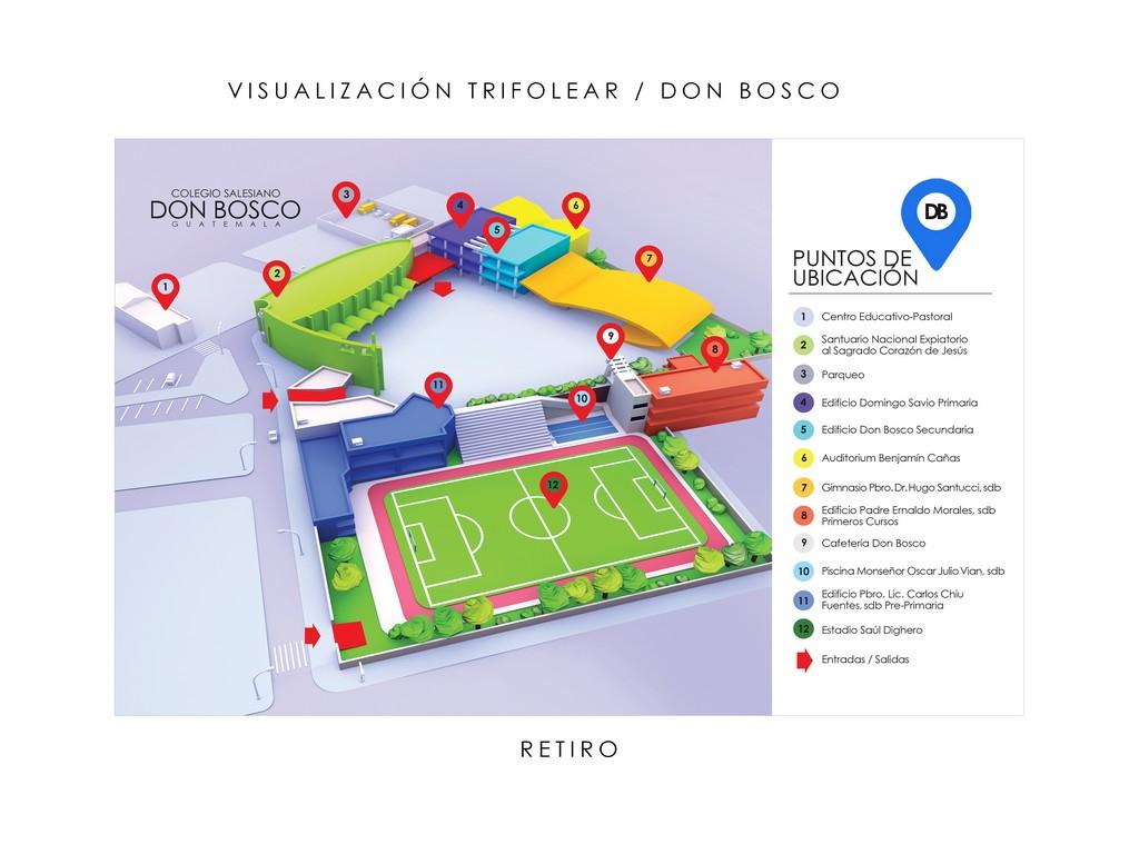 Mapa Tridimencional y señalizado del Colegio Don Bosco