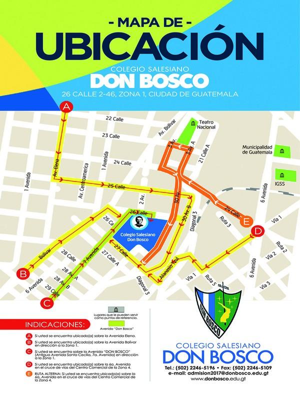 Mapa de ubicación y señalización de rutas para llegar a Don Bosco